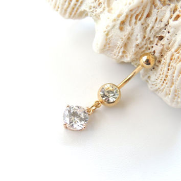Gold Crystal CZ Belly Button Ring, Gold Navel Ring, Sexy Body Jewelry, Small Belly Rings, 14g 14 Gauge Barbell, Gift Idea. 1120