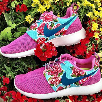 Nike Rosherun ID Shoes with custom floral prints ( your choice )