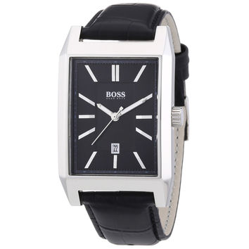Hugo Boss 1512915 Men's Architecture Black Dial Black Leather Strap Quartz Watch