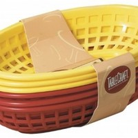 "Tablecraft 6 Piece Assorted Sandwich & Fry Basket Set, 9"", Red & Yellow"