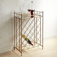 Antiqued Bronze Metal Wine Rack with Mirrored Top