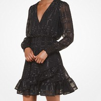 Plaid Jacquard Ruffled Dress | Michael Kors