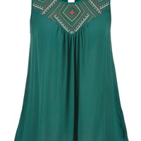 sleeveless top with embroidery and keyhole back