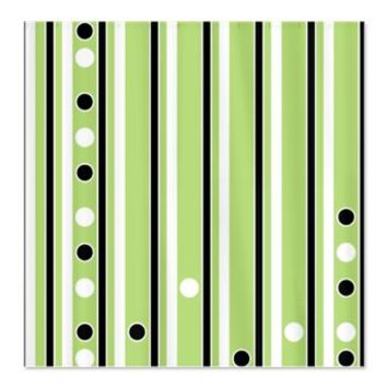 Black And White Stripes On Light Green Shower Curt Polka Dotted Curtains
