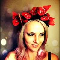 Red Butterfly And Flowers Headband .. on Luulla