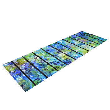 "Ebi Emporium ""Stripes & Snowflakes"" Blue Green Yoga Mat"