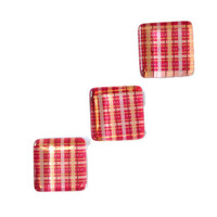 CIJ SALE 20% OFF - Peach and Pink Plaid Magnets