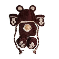 Baby - Bear Outfit Boy Halloween Costume - Crochet Hat, Mittens, Booties, Diaper Cover | Teddy, Brown, Black, Koala, Polar, Panda