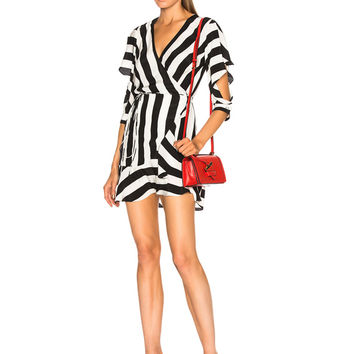 Michelle Mason Flutter Wrap Dress in Stripe | FWRD