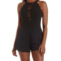 Black Lace-Trim Halter Romper by Charlotte Russe
