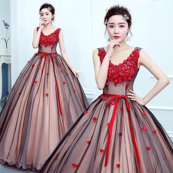 red  Flower Appliques V Collar Long Quinceanera Dress