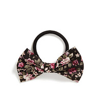 FOREVER 21 Floral Bow Hair Elastic Black/Multi One