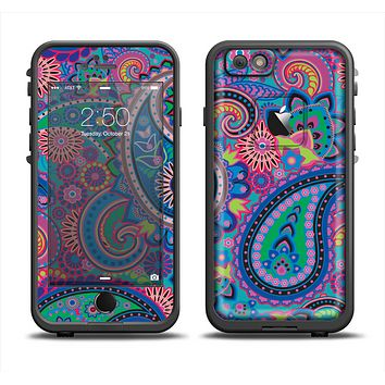 The Bold Colorful Paisley Pattern Apple iPhone 6 LifeProof Fre Case Skin Set