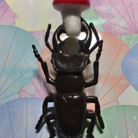 Beetle With Toadstool Repurposed Toys Pin