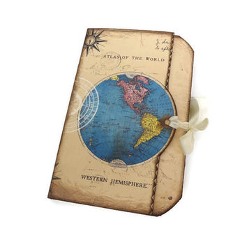 Atlas Travel Journal, World Map Scrapbook or Destination Wedding Guest Book, Travel Keepsake
