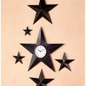 Black Country Star Wall Decor or Clock Metal Rustic Farmhouse Home Decor