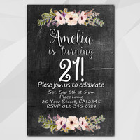 21st Birthday invitation, Watercolor Chalkboard Invitation, 1st 2nd 13th 18th 21st 30th 40th 50th, Custom invitation XA022c