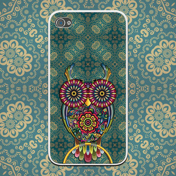 Boho Teal and Gold with Paisley Owl - Custom Cell Phone Case - iPhone 4/4s, iPhone 5/5s, iPhone 5c, Samsung Galaxy S4, Galaxy S3 Gypsy Style