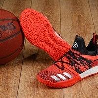 DCCK A158 Adidas James Harden Vol.2 Boost Training Basketball Shoes Black Red Sliver