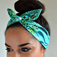 Aqua Dolly bow Headband, hair bow head band