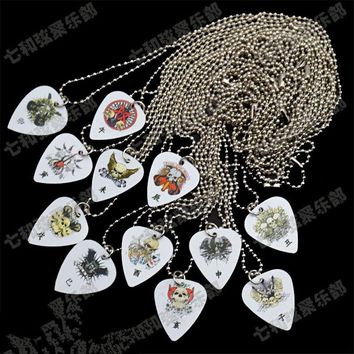 QHX 12 Pcs Bass Guitar Picks Pendant Necklace China 12 Zodiac Style guitar accessories parts Musical instrument