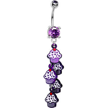 Tanzanite Cubic Zirconia Sweet Cupcake Drop Belly Ring