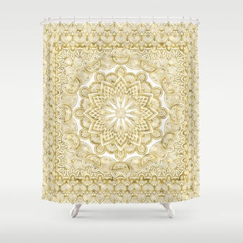 Orient Espresso Pattern Mandala Gold Shower Curtain by Octavia Soldani | Society6