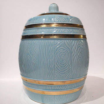 Light Blue Ceramic Barrel Cookie Jar, 60s Acme Craftware USA, Light Blue and Gold Trim Cookie or Snack Jar, Vintage Mid Century Cookie Jar