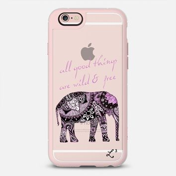 Elephant Geometric Print Wild & Free - Purple & White iPhone 6s case by Love Lunch Liftoff | Casetify
