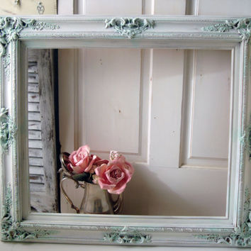 Large Ornate White and Green Frame, Shabby Chic Off White and Light Green Distressed Open Frame, Frame Gallery, Cottage Chic, French Cottage