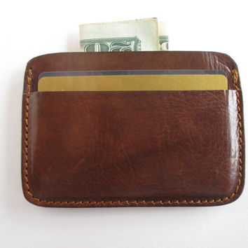 Leather credit card holder in dark cognac, minimalist wallet