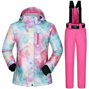 2018 Womens Ski Suit Snowboard Clothes Waterproof Winter Outdoor Snow Ski Jackets And Pants Skiing And Snowboarding Jacket Women