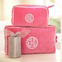 Quilted Velvet Beauty Cases – Pink Magenta