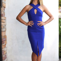 Keepsake Cobalt Blue Tainted Romance Dress