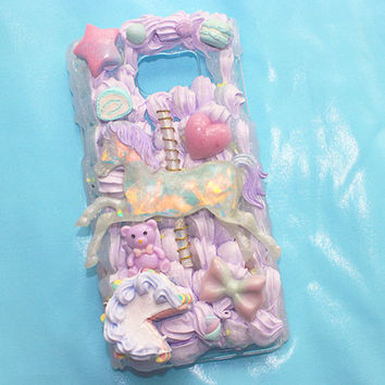 Kawaii Magical Carousel Deco Phone/ READY TO SHIP NOTE 5 Galaxy/kawaii deco case, decoden, pastel phone case ( READY TO SHIP)