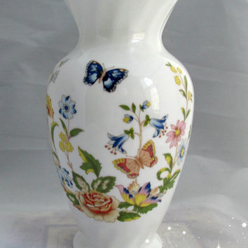 Aynsley Fine Bone China Vase Cottage Garden Butterfly Flowers Spring Gift Christmas Wedding
