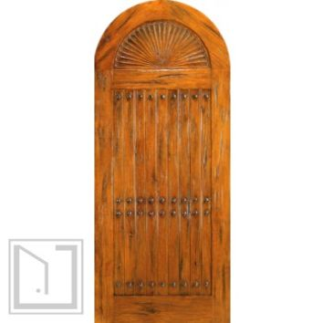 Prehung, Round Top Carved Panel Plank Entry Door, Knotty Alder