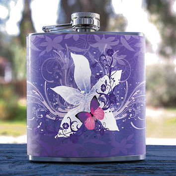 Purple Butterfly Flowers, Best Hip Flask 6oz, Sparkle Rose Style, for Gifts, Weddings, Men/Women, Bridesmaid, Groomsmen, Sorority & more!