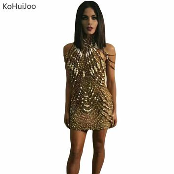 KoHuiJoo Spring Autumn Summer Golden Mini Sequined Dress Women Heavy Beading Sexy Off Shoulder Party Glittering Club Dresses