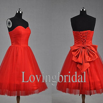 Short Lovely Red Prom Dress Sweetheart Party Dress with Bow Fashion Wedding Party Dress Fashion Prom Dress Lace UP Back Bridesmaid Dress
