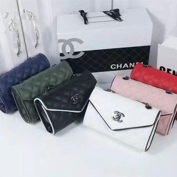 LMFON Chanel' Simple Fashion All-match Quilted Metal Chain Single Shoulder Messenger Bag Women Small Square Bag