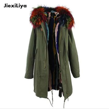 2016 New Fashion Real Fur Parka for women's Army Green Large Fur Collar Hooded Long Coat Outwear Rabbit Fur Lining Winter Jacket
