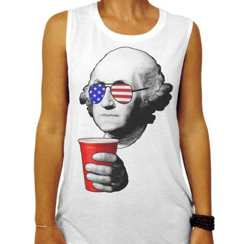 Funny 4th of July Muscle Tee, Drinking Cup American Flag George Washington Shirt, Patriotic Party Shirt, Summer BBQ Shirt, USA, America Tank