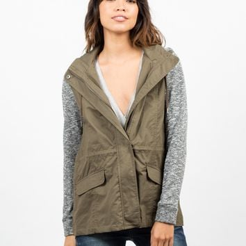 Sweater Contrast Utility Jacket