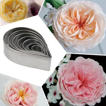 7Pcs Kitchen Baking Mold Fondant Party Wedding Decor Rose Petal Cookie Cake Cutters Biscuit Pastry Mould E2shopping