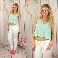 Tribal Trim Top in Mint