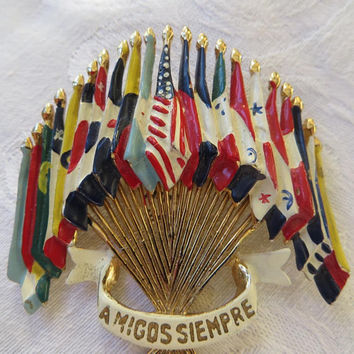 Coro WWII Brooch,  Emblem of the Americas, Amigos Siempre Pin, Brunialti Book piece, Vintage Military Jewelry