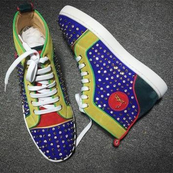 Cl Christian Louboutin Louis Spikes Style #1851 Sneakers Fashion Shoes