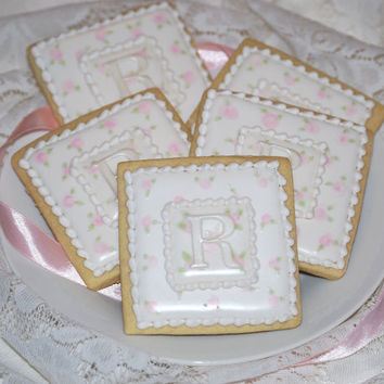 Elengant White and Pink Rose Monogram Cookies - One Dozen Decorated Sugar Cookies