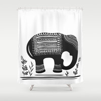 Lucky Elephant Shower Curtain by Heather Dutton